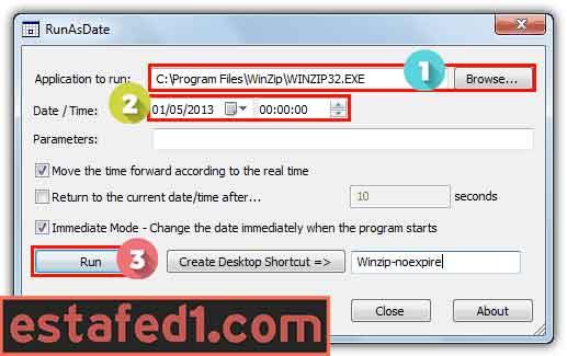 شرح برنامج NirSoft RunAsDate لتمديد الفترة التجريبية لأي برنامج
