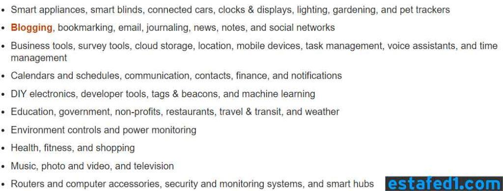 IFTTT SERVICES TYPES