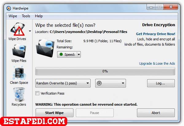 برنامج HardWipe لإزالة الملفات نهائيا من جذورها