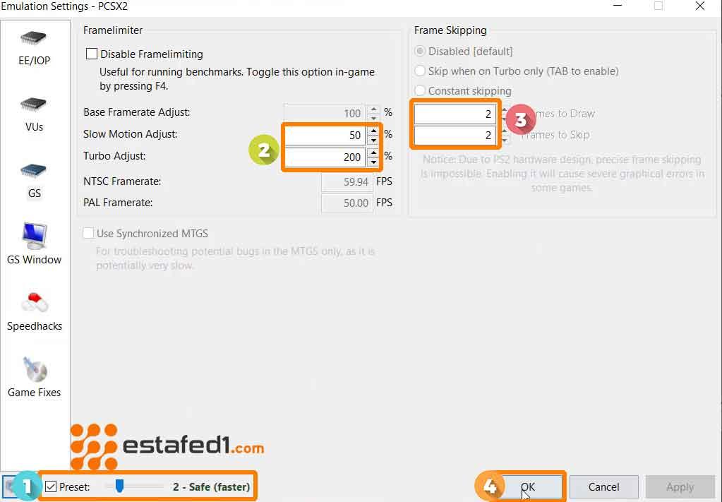 ضبط أفضل الإعدادات PCSX2 اعدادات الصورة  step 2