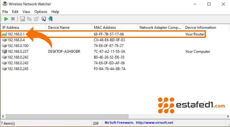 الطريقة الثالثة لمعرفة ip الراوترعلى جهاز الكمبيوتر | Windows  WNetWatcher