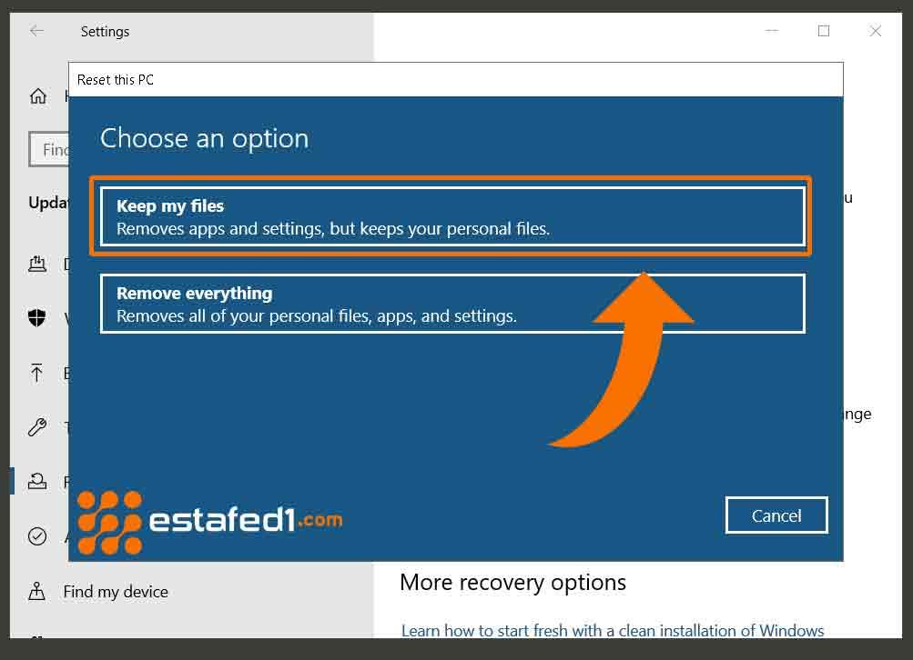 إسترجاع الإعدادات الإفتراضية ويندوز 10 مع الحفاظ على ملفاتك