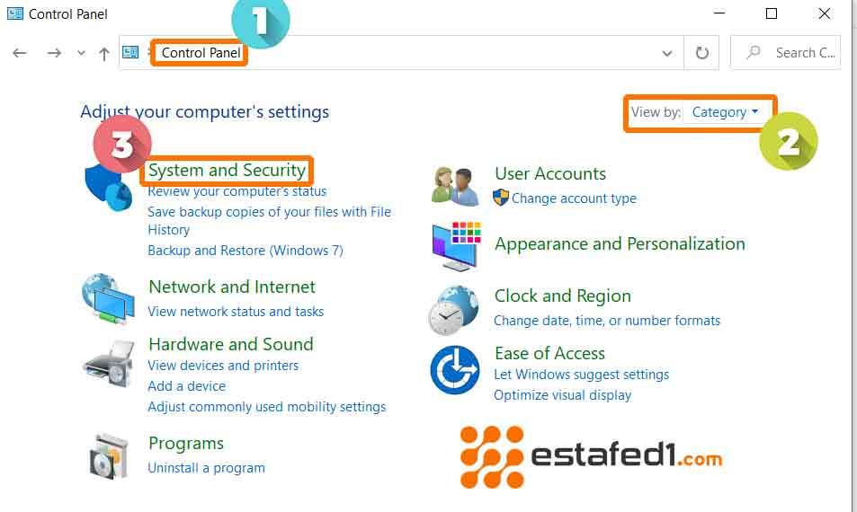 لوحة التحكم في ويندوز 7 الأمان والنظام