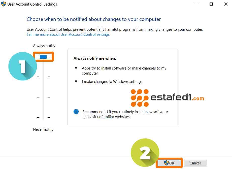 زيادة درجة الأمن في ويندوز 7