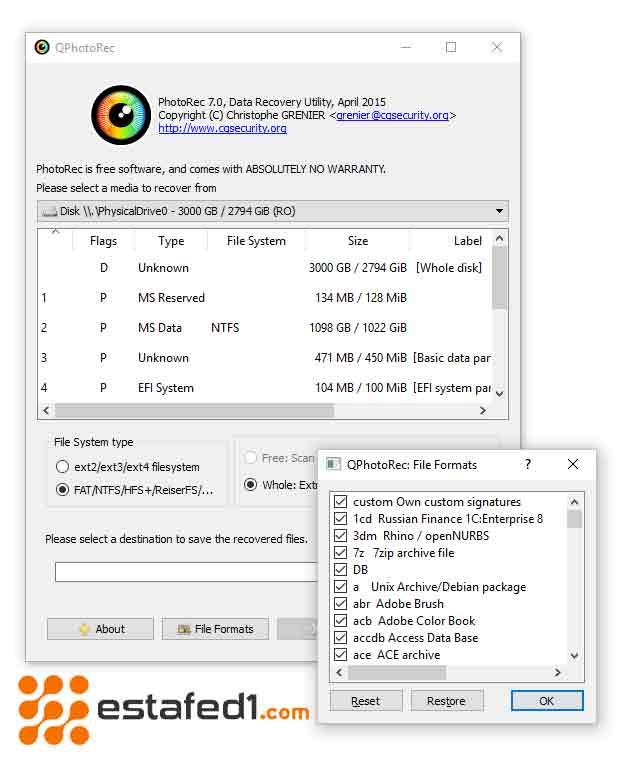 تطبيقات استرجاع الصور | تطبيق Photorec