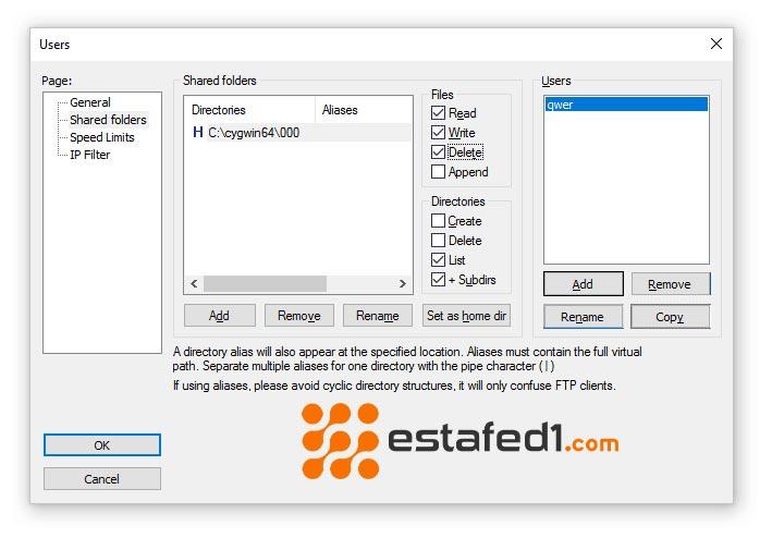 َبط اعدادات FileZilla Server لاسترجاع الملفات المحذوفة من الذاكرة الداخلية