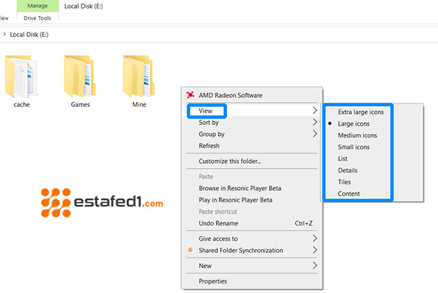 تغيير طريقة عرض المجلدات في ويندوز 7 من خلال طريقة سريعة