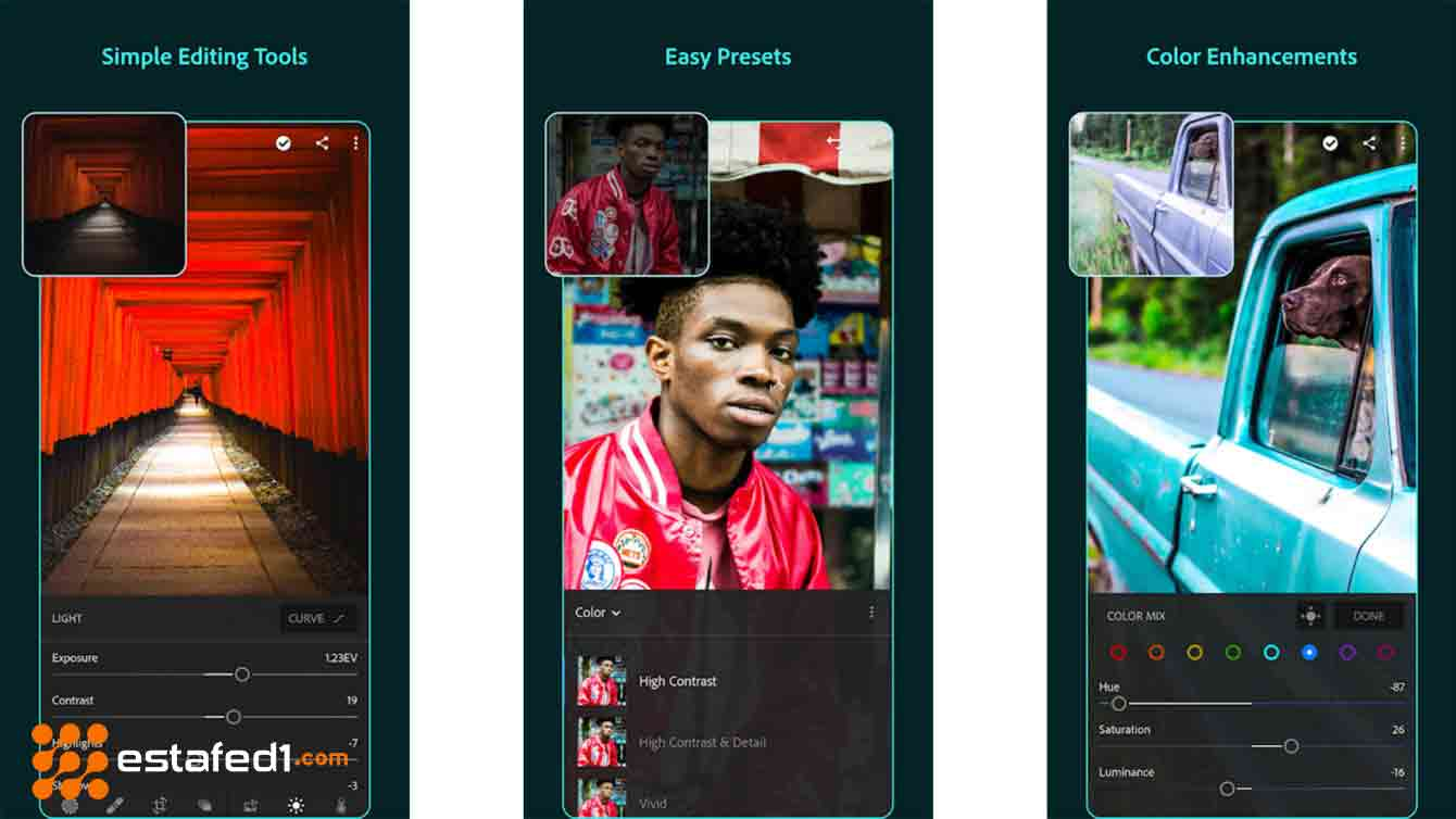 أفضل تطبيقات الكاميرا للاندرويد تطبيق Adobe Lightroom