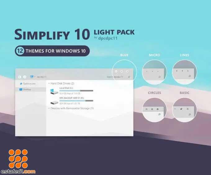 أفضل ثيمات ويندوز 10 simplify 10 light