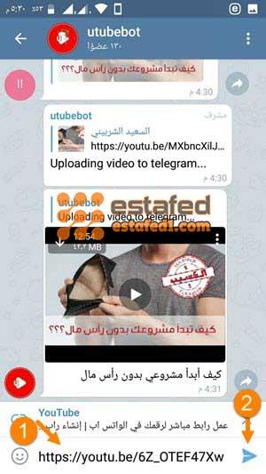 إرسال رابط تحميل الفيديو من يوتيوب