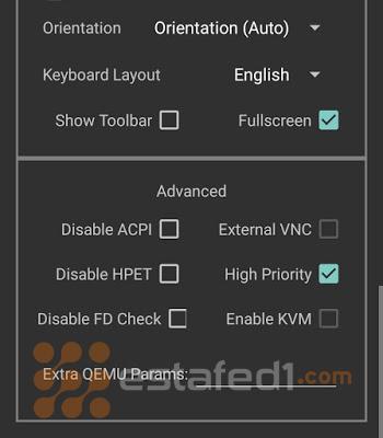 تنصيب ويندوز 7 على الاندرويد- تطبيق الإعدادات كما هي