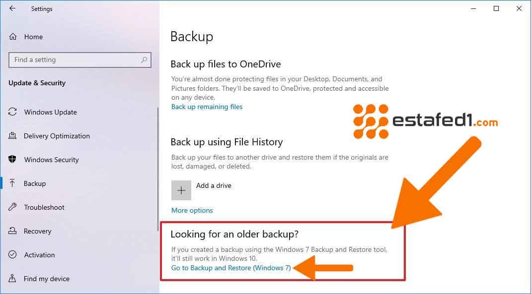عمل نسخة احتياطية لويندوز 10 (Go to Backup and Restore (Windows 7.