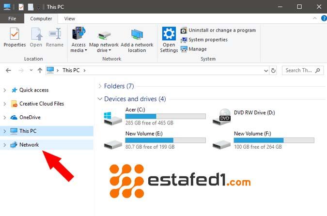 نقل الملفات بين جهازين كمبيوتر افتح نافذة الشبكات