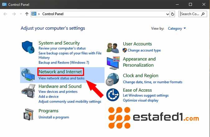 نقل الملفات بين جهازين كمبيوتر فتح لوحة التحكم 2