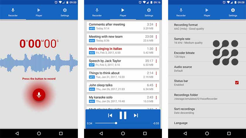 تطبيق Smart Voice Recorder splead
