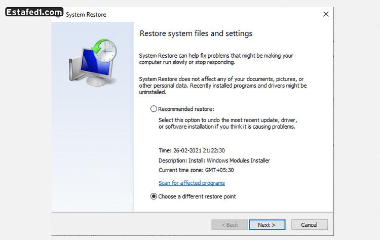 حل مشكلة الشاشة الزرقاء الرجوع إلي نقطة استعادة