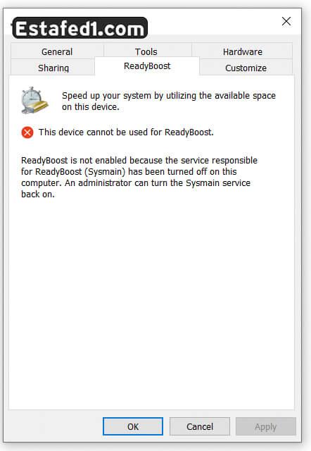 رسالة تعذر This device cannot be used for ReadyBoost