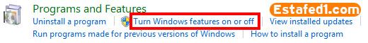 3. ثم انقر علي خيار Turn Windows features on or off.