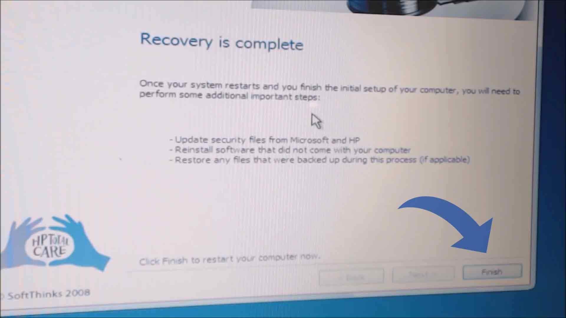 إنهاء استعادة النظام ويندوز 7